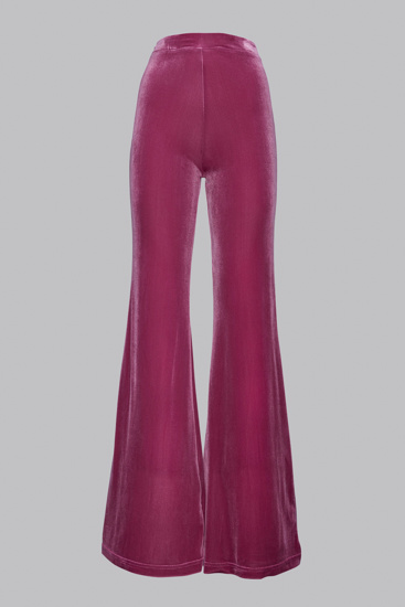Picture of Flared pink velvet trousers