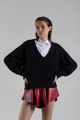 """Picture of """"Mousse"""" V-necline black sweater"""